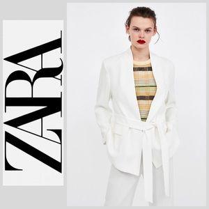 NWT Zara Textured Jacket with Belt - S